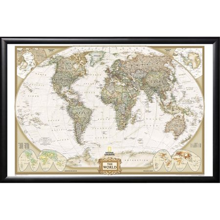 World Map by National Geographic (Push Pin Map) Framed (Satin Black ...