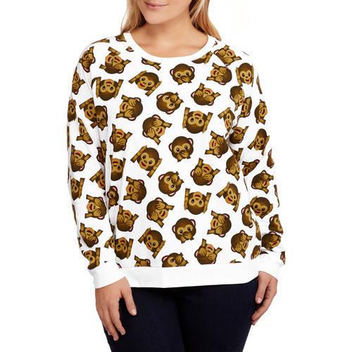 Monkey Emoji Juniors' Plus Fleece Crewneck All Over Print Pullover Sweatshirt