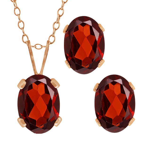 2.00 Ct Oval Red Garnet Gemstone Gold Plated Silver Pendant Earrings Set