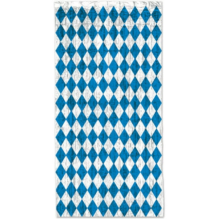 3' x 8' Blue And White Oktoberfest Door Window Curtain Party Decoration for $<!---->