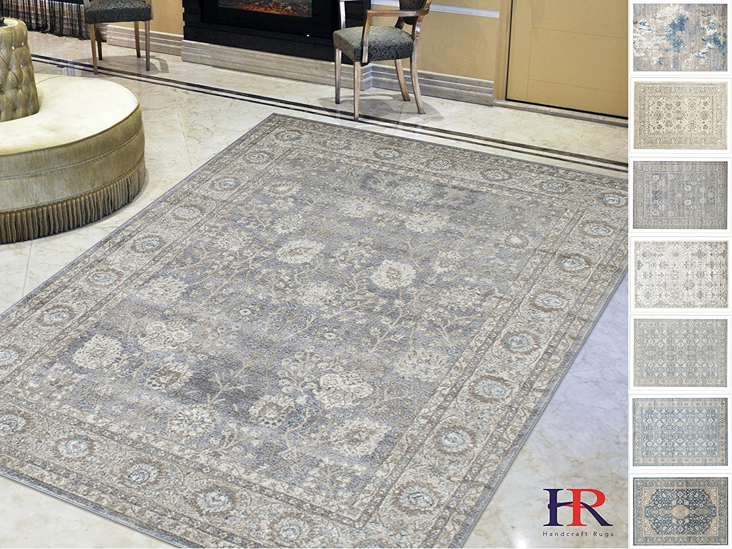 Handcraft Rugs Persian Rug Silver Ash Gray Ivory Faded