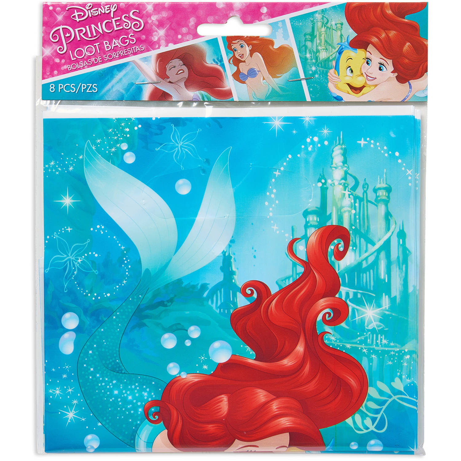 Disney The Little Mermaid Party Favor Treat Bags, 6.5 x 9.25 in, 8ct