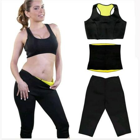 ed071d4d45 Thermo Neoprene Gym Ultra Sweat Belt Bra Capri-pants 3 Pieces set ...