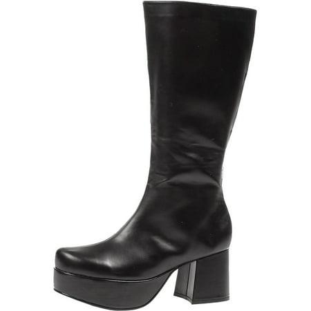 Men's Rockstar Costume Knee High 3 Inch Chunky Heel Platform Boots Black Poly Size: - Chubby Costume