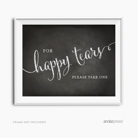 For Happy Tears Tissue Vintage Chalkboard Wedding Party Signs (Happy Tears)