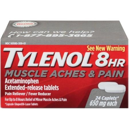 Tylenol 8 Hour Muscle Aches & Pain Tablets with Acetaminophen, 24 (Best Muscle Relaxers For Anxiety)