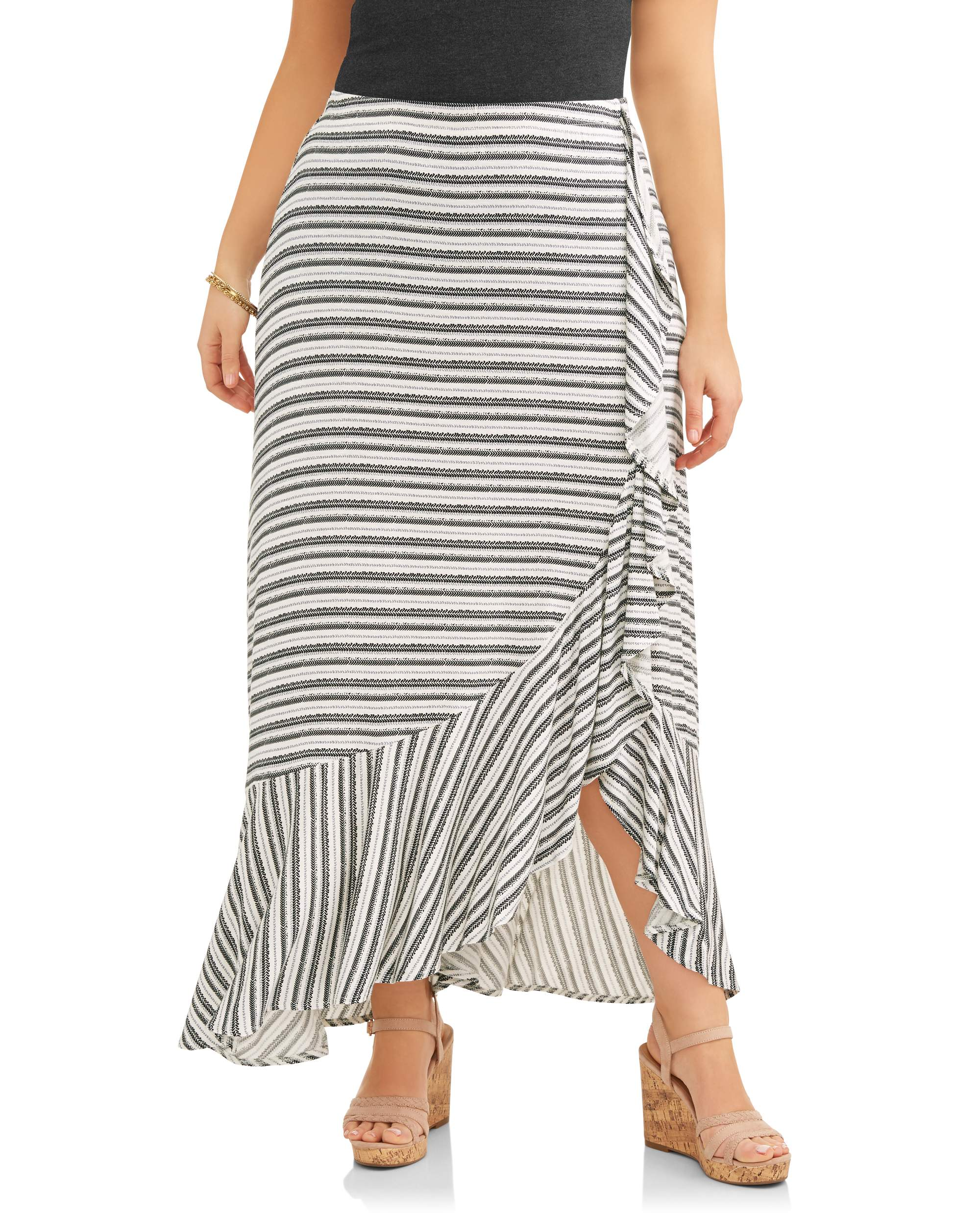 Women's Plus Ruffle Flounce Wrap Maxi Skirt