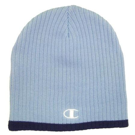 742b42991e0 Champion - NEW Champion Knit Baby Blue Navy Blue Winter Hat Beanie Cap -  Walmart.com