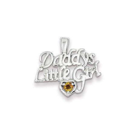 Little Girl Birthstone Charm - 925 Sterling Silver Citrine Daddy's Little Girl Charm Pendant