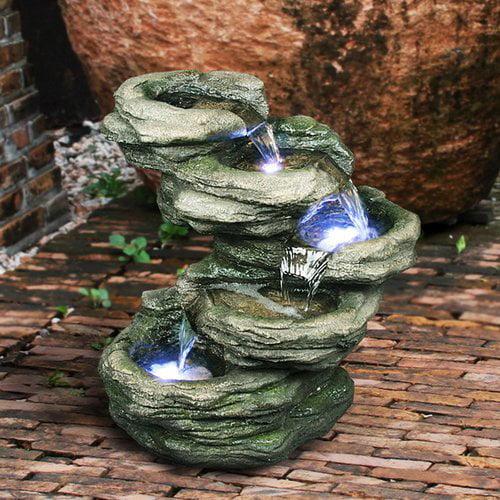 Hi-Line Gift Ltd. Fiber and Resin Rocks Fountain with LED Light by Hi-Line Gift Ltd.