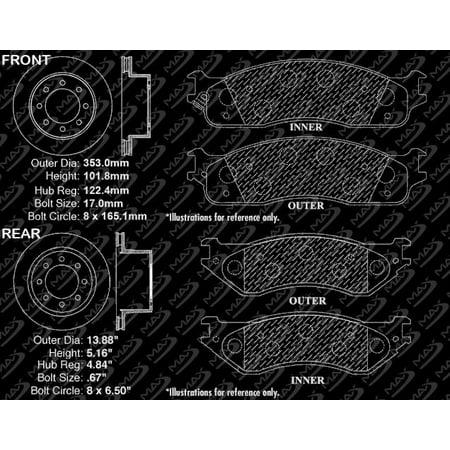 Max Brakes Front & Rear Premium Brake Kit [ OE Series Rotors + Metallic Pads ] TA089843   Fits: 2007 07 2008 08 Dodge Ram 2500 - image 8 of 8