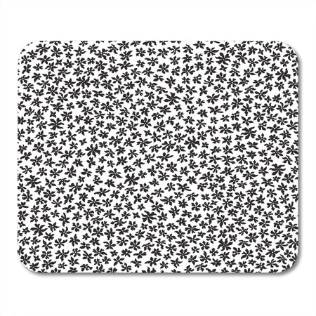 LADDKE Boho Floral Pattern from Small Black Flowers in Chaotic Order Trendy Style White Batik Chintz Abstract Mousepad Mouse Pad Mouse Mat 9x10 inch (Black Chintz)