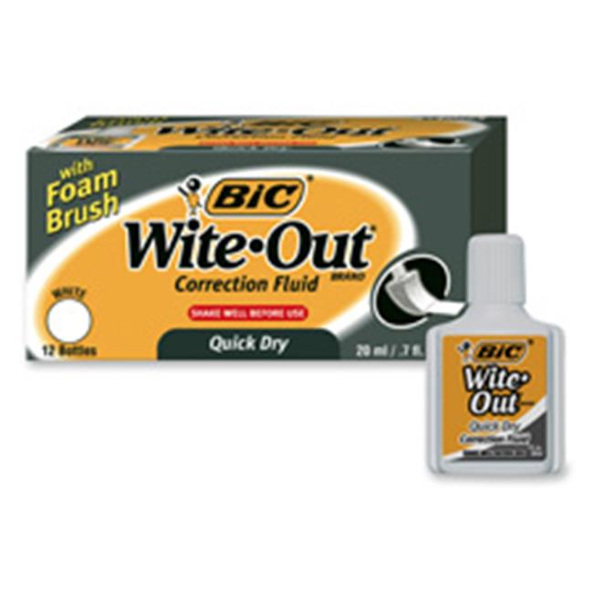 Bic Corporation BICWOFQD12WE Correction Fluid- Quick Dry Formula- 22ml- White