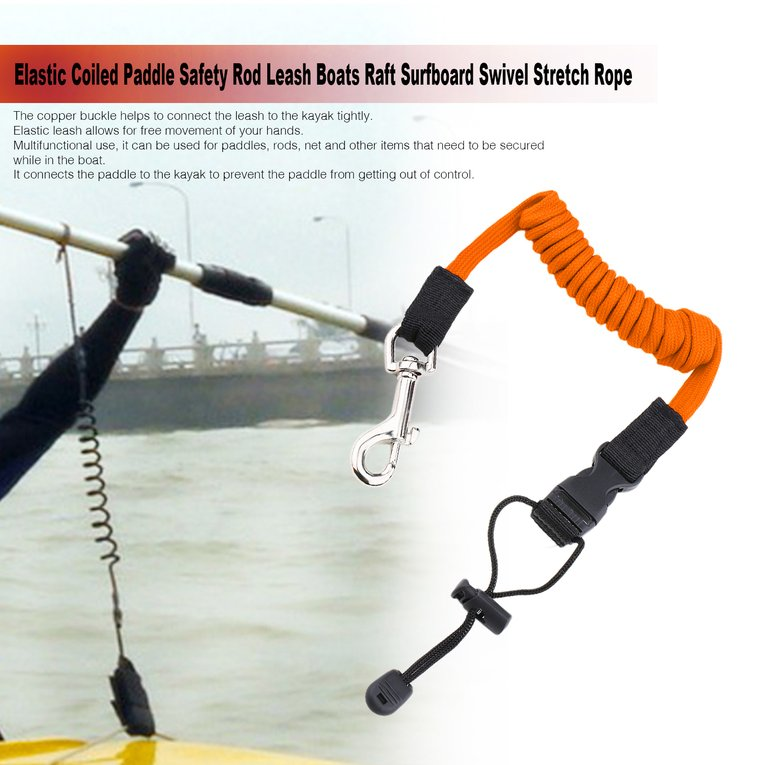 Elastic Coiled Paddle Safety Rod Leash Boats Raft Surfboard Swivel Stretch Rope