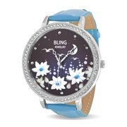 Womens Leather Night Sky Flower Power Stainless Steel Back Watch