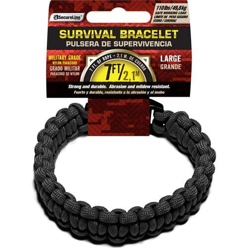 "SecureLine 550 lb Military Grade Paracord Survival Bracelet, Large, 9.5"", Black"