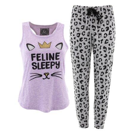 PJ Couture Feline Sleepy Lavender Pajamas for Women