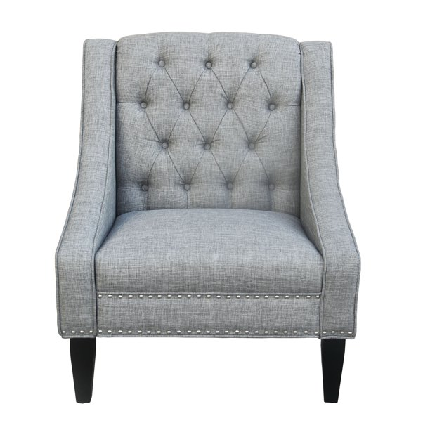 Carmina Swoop Grey Accent Chair: Tufted Swoop Arm Accent Chair In Gray