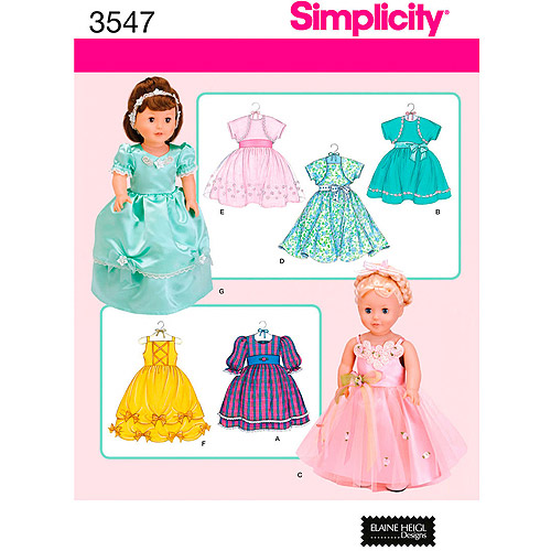 """Simplicity Pattern 18"""" Doll Clothes"""