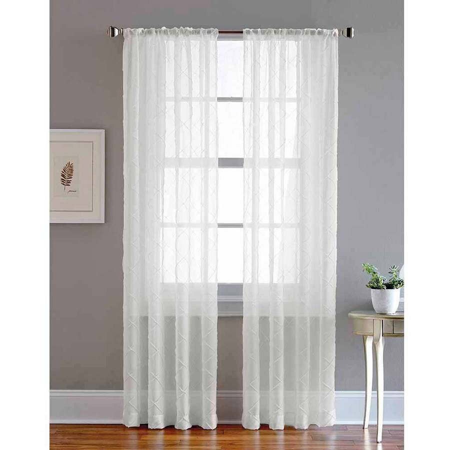 Pintuck Rod Pocket Sheer Curtain Panel by Generic