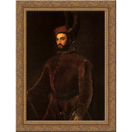 Portrait of Ippolito de Medici in a Hungarian Costume 24x18 Gold Ornate Wood Framed Canvas Art by Titian - Tintin Costume
