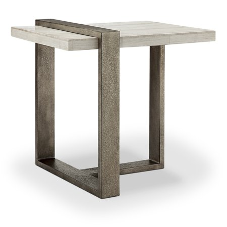 Wiltshire Modern Sea Shell Marble Veneer and Metal End Table