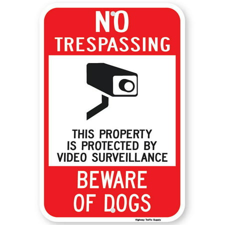 Highway Construction Signs - NO TRESPASSING BEWARE OF DOG Sign 12