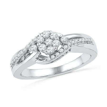 Diamond Cluster Engagement Ring in 14k White -