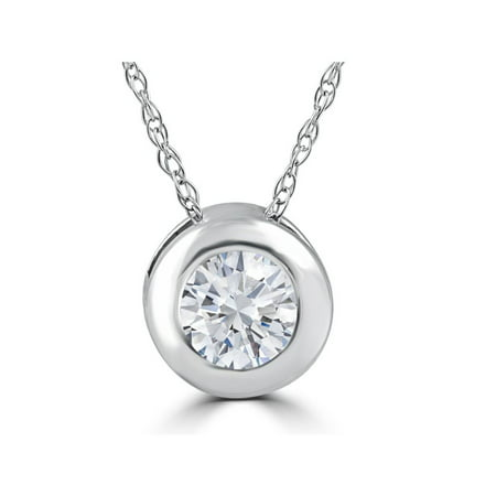 1/3ct Round Bezel Solitaire Diamond Pendant 14K White Gold