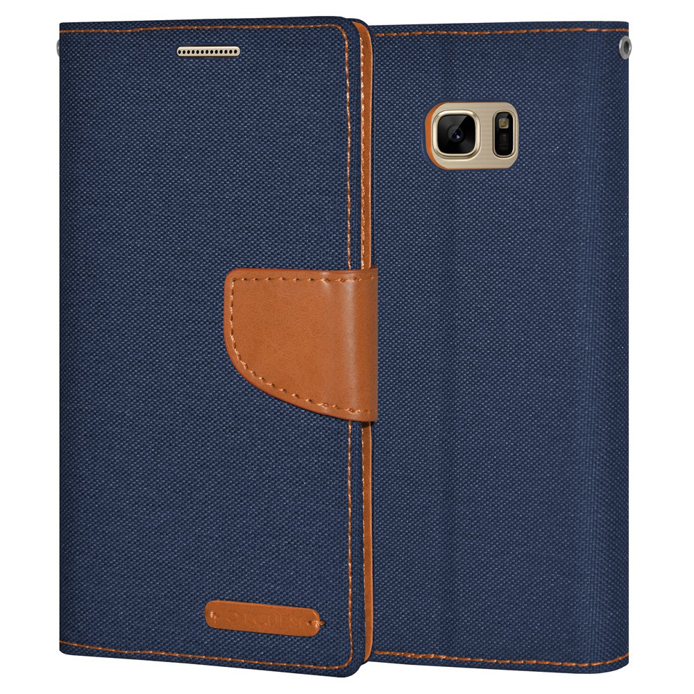 Premium Navy Blue Canvas Pocket Wallet Credit Card Holder Flip Case Folio Cover for Samsung GALAXY Note7 N930 with Detachable Cell Phone Neck Lanyard