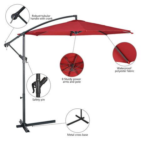10' Hanging Umbrella Patio Sun Shade Offset Market W/ T Cross Base Burgundy - image 9 of 10