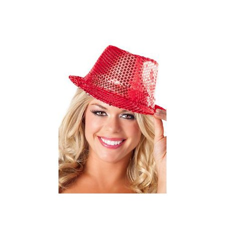 Red Sequin Fedora Hat BW0708 Red One Size Fits All, One Size Fits All