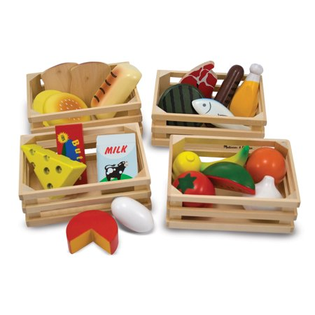 Foot Toy - Melissa & Doug Food Groups - 21 Hand-Painted Wooden Pieces and 4 Crates