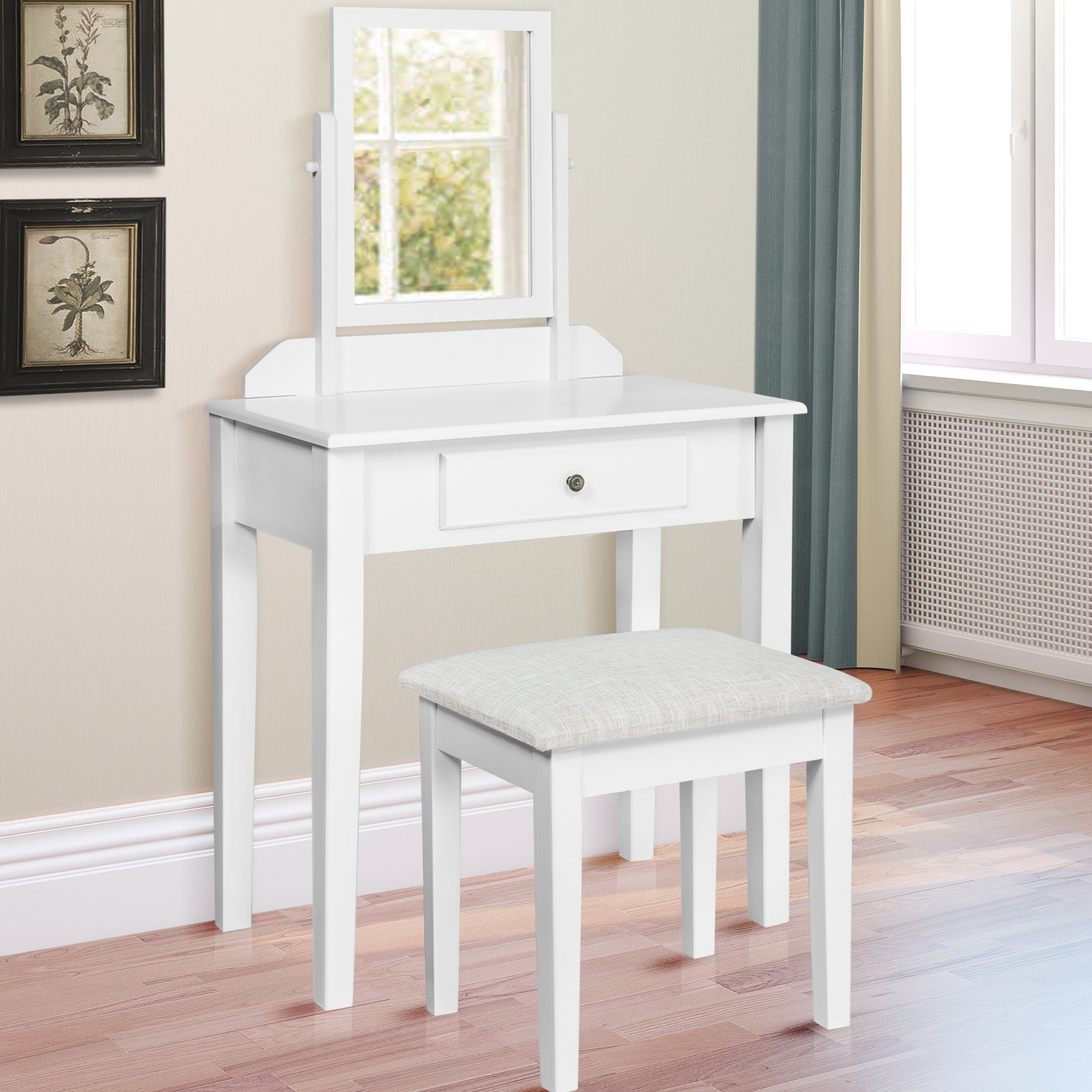 Best Choice Products Bathroom Vanity Table Set W Stool Hair Dressing  Organizer White