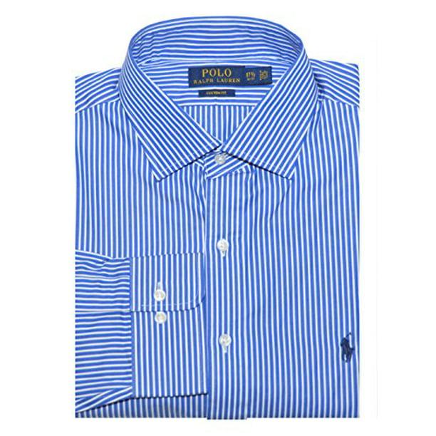 Polo Ralph Lauren Men Custom Fit Striped Dress Shirt (16(32-33), Blue royal/white)