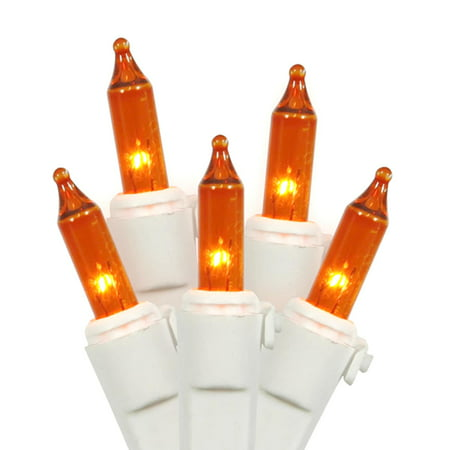 Vickerman 100 Light Amber Clear Mini Light, White Wire End Connecting Lamp Lock Set 5.5