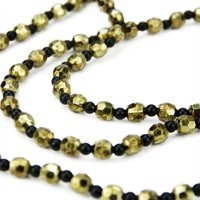"""Sage 2.5' x 14"""" Black/Gold Beaded Artificial Christmas Garland Swag"""