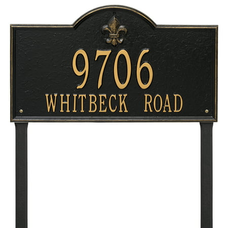 Personalized Whitehall Products Bayou Vista Double Line Estate Lawn Plaque In Black Gold