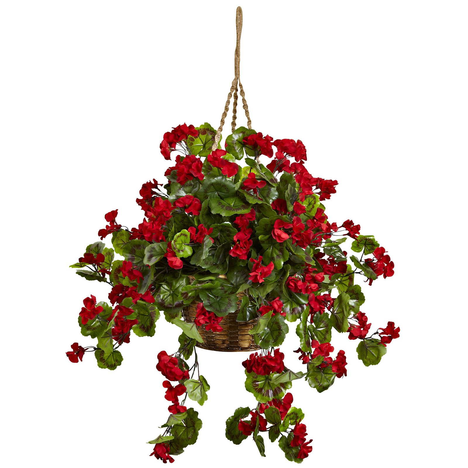 Nearly Natural Red Geranium Hanging Silk Plant