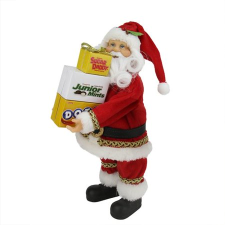 Northlight Seasonal Santa Claus Carrying Boxes of Dots, Junior Mints, and Sugar Daddy