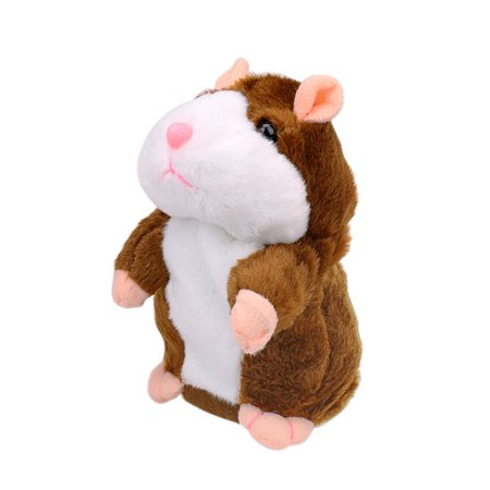 Adorable Gift Toy Talking Hamster Mouse Plush Doll for Kids - Repeats What You Say, Light Brown