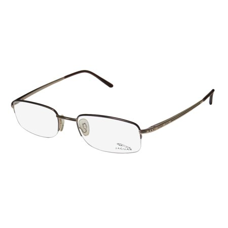 New Jaguar 3371 Mens Designer Half Rim Gold   Plum   Brown Frame Demo Lenses 52 19 135 Spring Hinges Eyeglasses Glasses