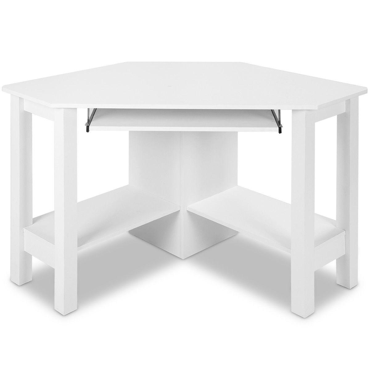 Costway Wooden Corner Desk With Drawer Computer Pc Table Study Office Room White Walmart Com Walmart Com