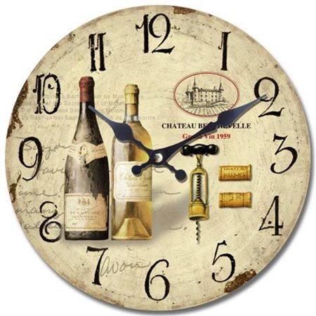 Circular Wooden Wall Clock with Two Bottles of Wine Print (Wine Clock)