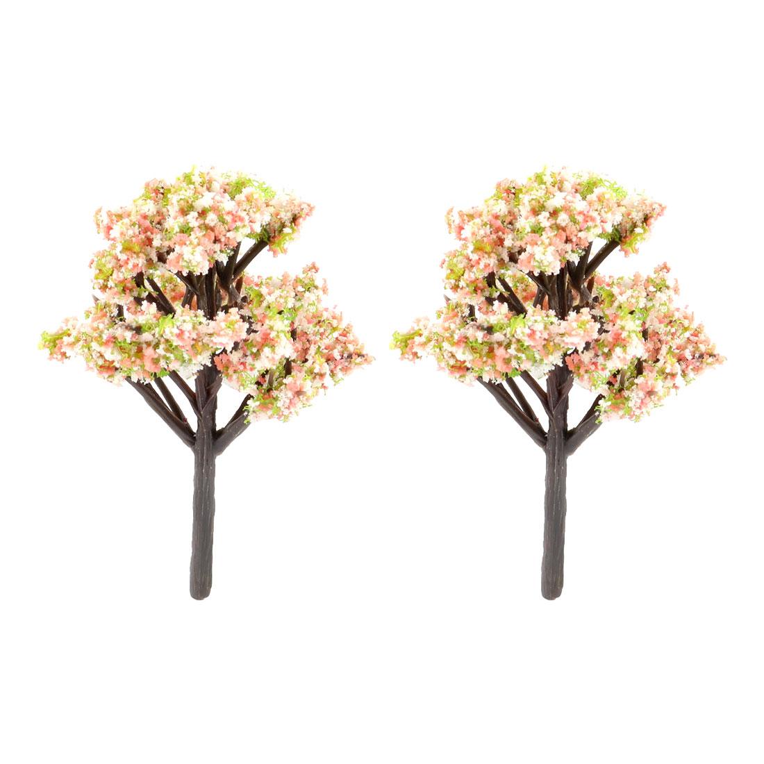 Household Garden Decor Resin Artificial Plant Tree Bonsai Landscape White 2 Pcs