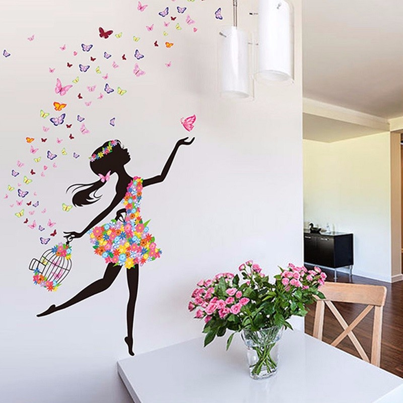 Dancing Girl Wall Art Decal Wall Stickers PVC Material DIY Mural Art