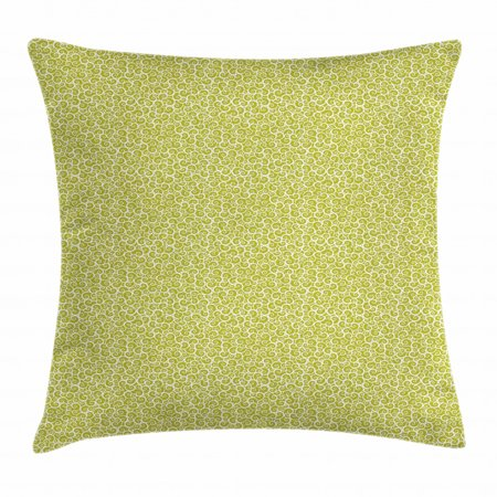 Earth Tones Throw Pillow Cushion Cover, Swirls Curved Tiles in Green Shade Artistic Abstract Floral Style Print, Decorative Square Accent Pillow Case, 18 X 18 Inches, Yellow Green White, by Ambesonne Green Abstract Tile