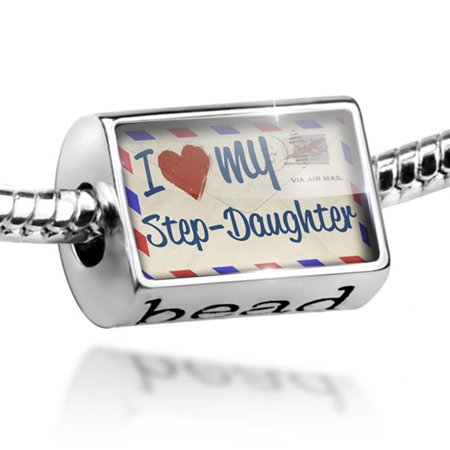 Bead I Love my Step-Daughter, Vintage Letter Charm Fits All European Bracelets - Love Beads
