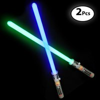 """Laser Swords for Kids (2 Pack) - Double Bladed Light Saber Toy with Sounds Blue/Green Colors - 28"""" inch Perfect for Star Wars Themed Party 6 AAA Batteries Included (replaceable)"""