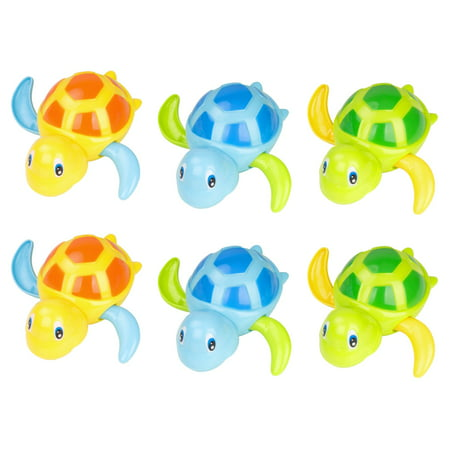 [6 Pcs] Baby Bath Toy, Swimming Floating Turtle Bathtub Wind-up Toddler Toys Summer Pool Water Bath Fun Time Cute Sets,Eco-Friendly Material, 3 Colors - Blue, Orange, (Best Bath Time Toys For Toddlers)